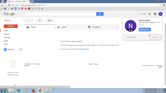 Gmail Account Id ko Sign Out kaise kare